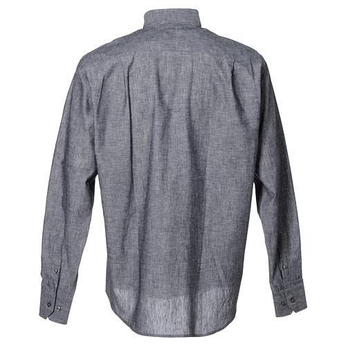 Camicia clergy lino cotone grigio manica lunga 2