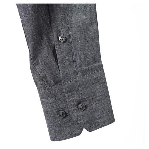 Camicia clergy lino cotone grigio manica lunga 3