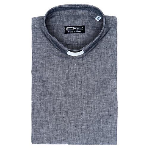 Camicia clergy lino cotone grigio manica lunga 5