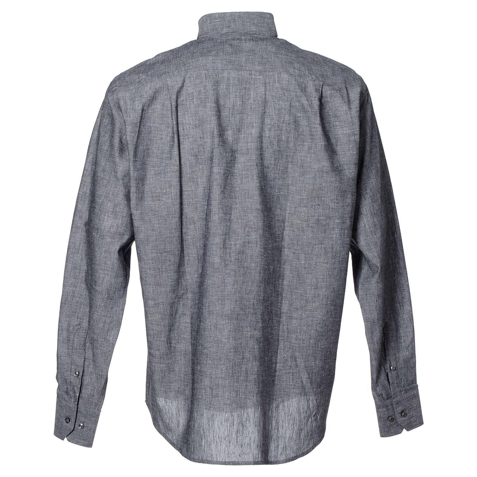 Koszula kapłańska len bawełna szara długi rękaw 4