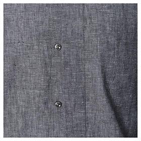 Koszula kapłańska len bawełna szara długi rękaw s4