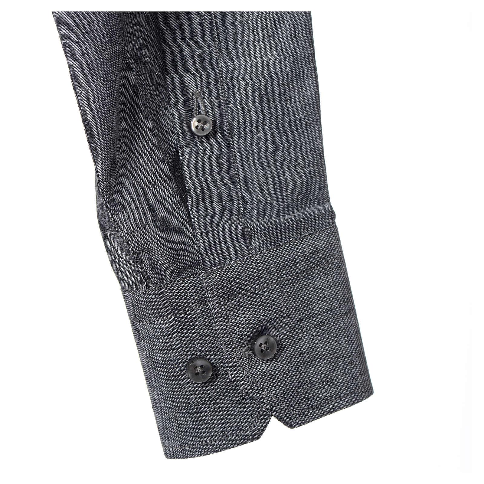 Camisa sacerdote linho algodão manga longa 4
