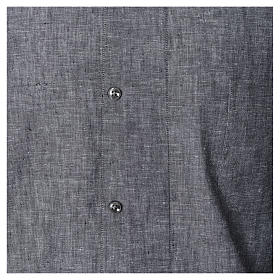 Long Sleeve Clergy shirt in grey linen and cotton s4