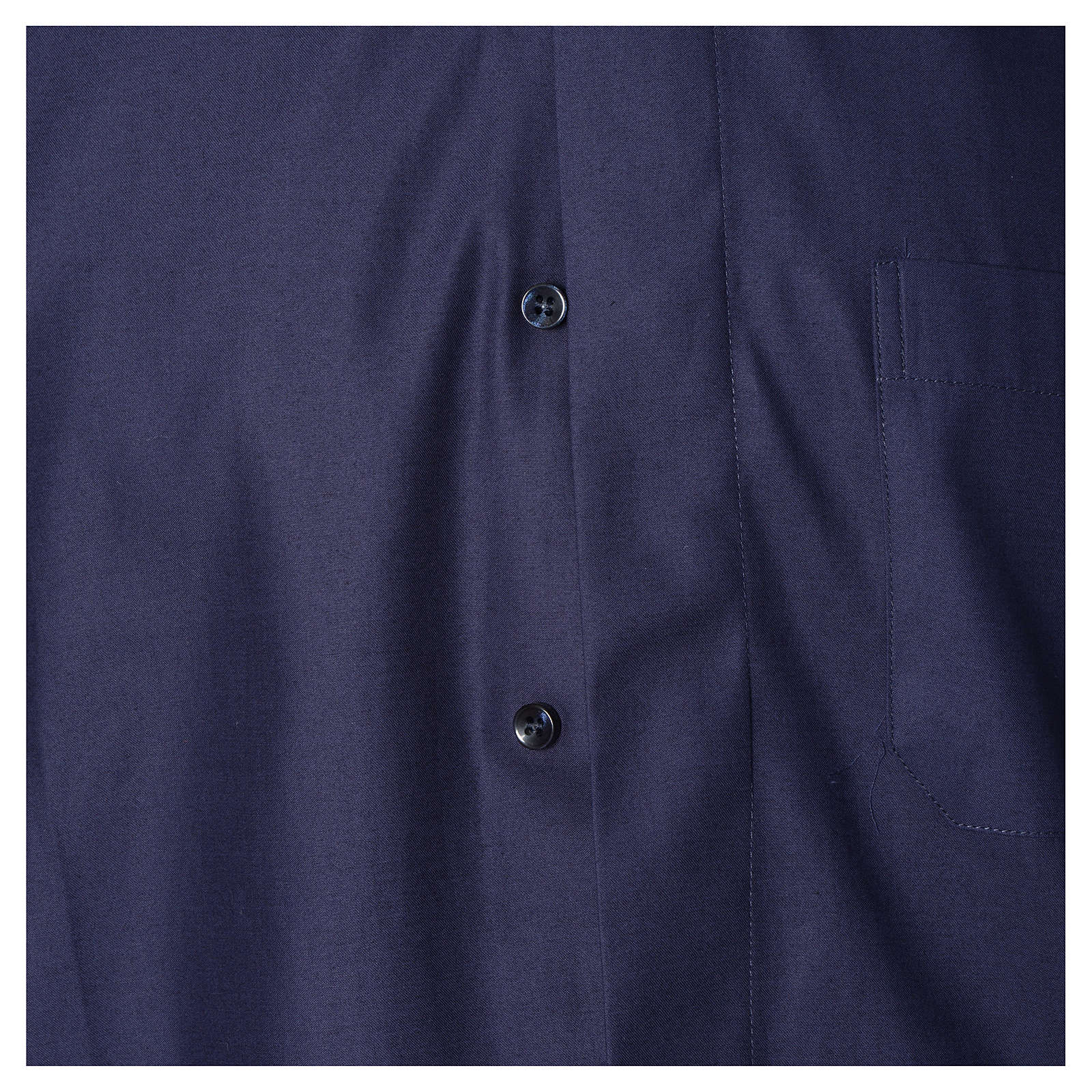 Short sleeves clerical shirt sleeves, blue cotton and polyester 4