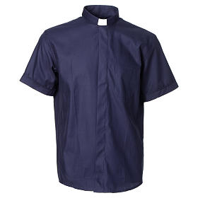 Camisa clergy sacerdote mixto algodón poliéster azul manga corta s1