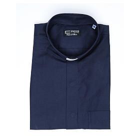 Camisa clergy sacerdote mixto algodón poliéster azul manga corta s4