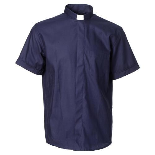 Camisa clergy sacerdote mixto algodón poliéster azul manga corta 1