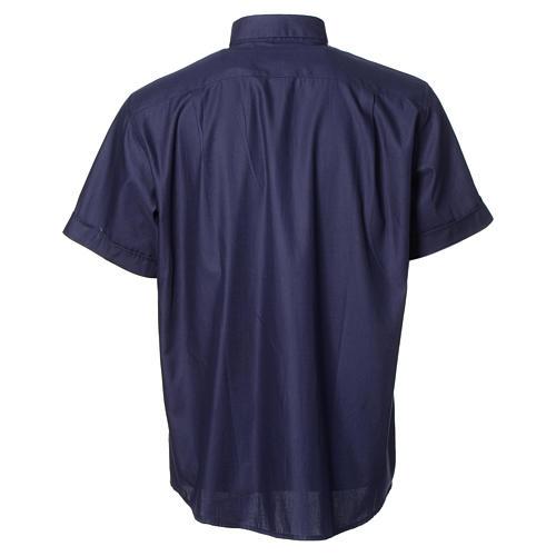 Camisa clergy sacerdote mixto algodón poliéster azul manga corta 2