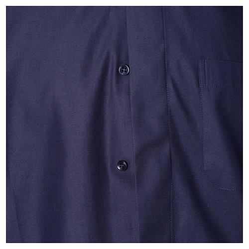 Camisa clergy sacerdote mixto algodón poliéster azul manga corta 3