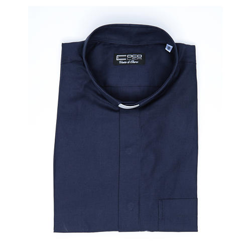Camisa clergy sacerdote mixto algodón poliéster azul manga corta 4