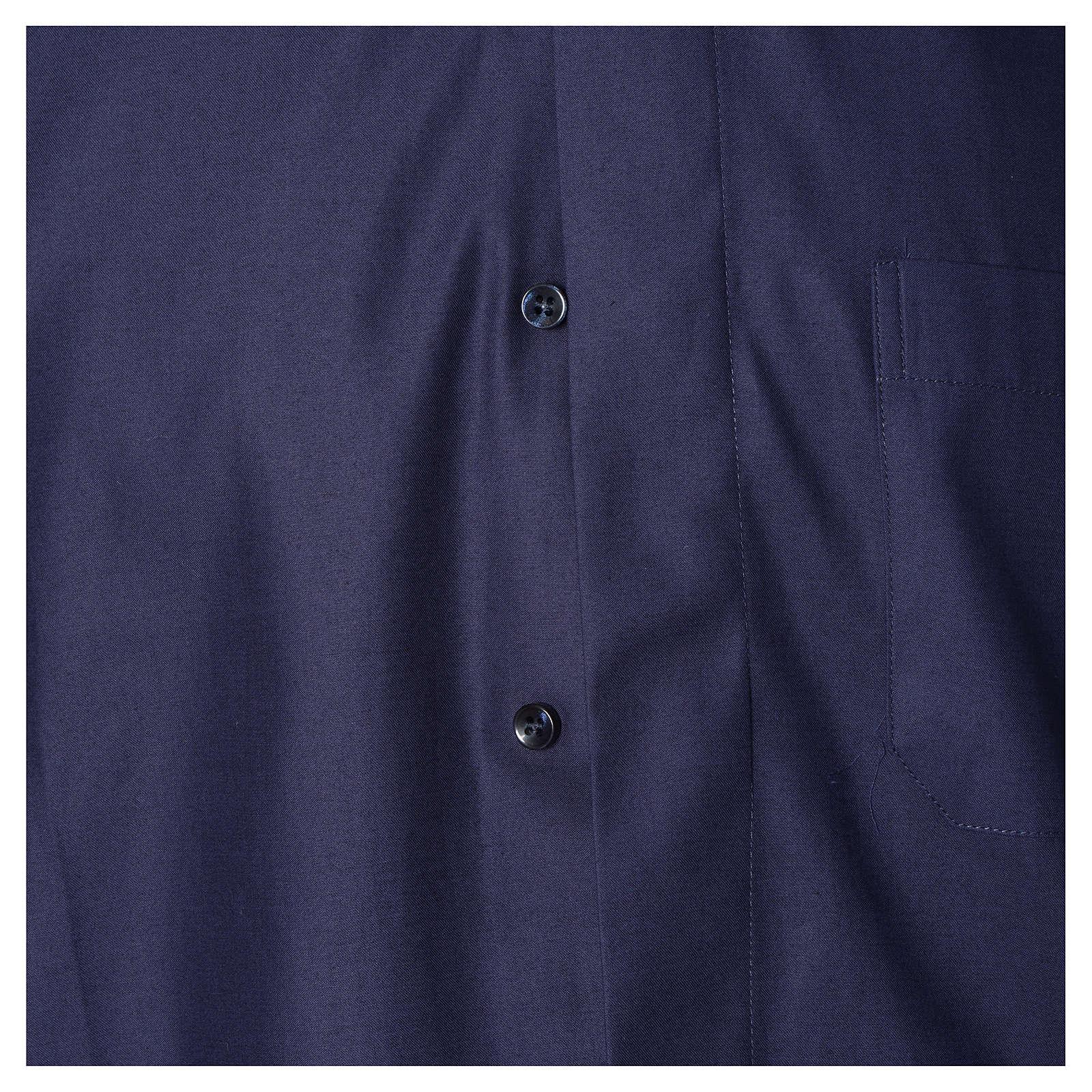 Camicia clergy misto cotone poliestere blu m. corta 4