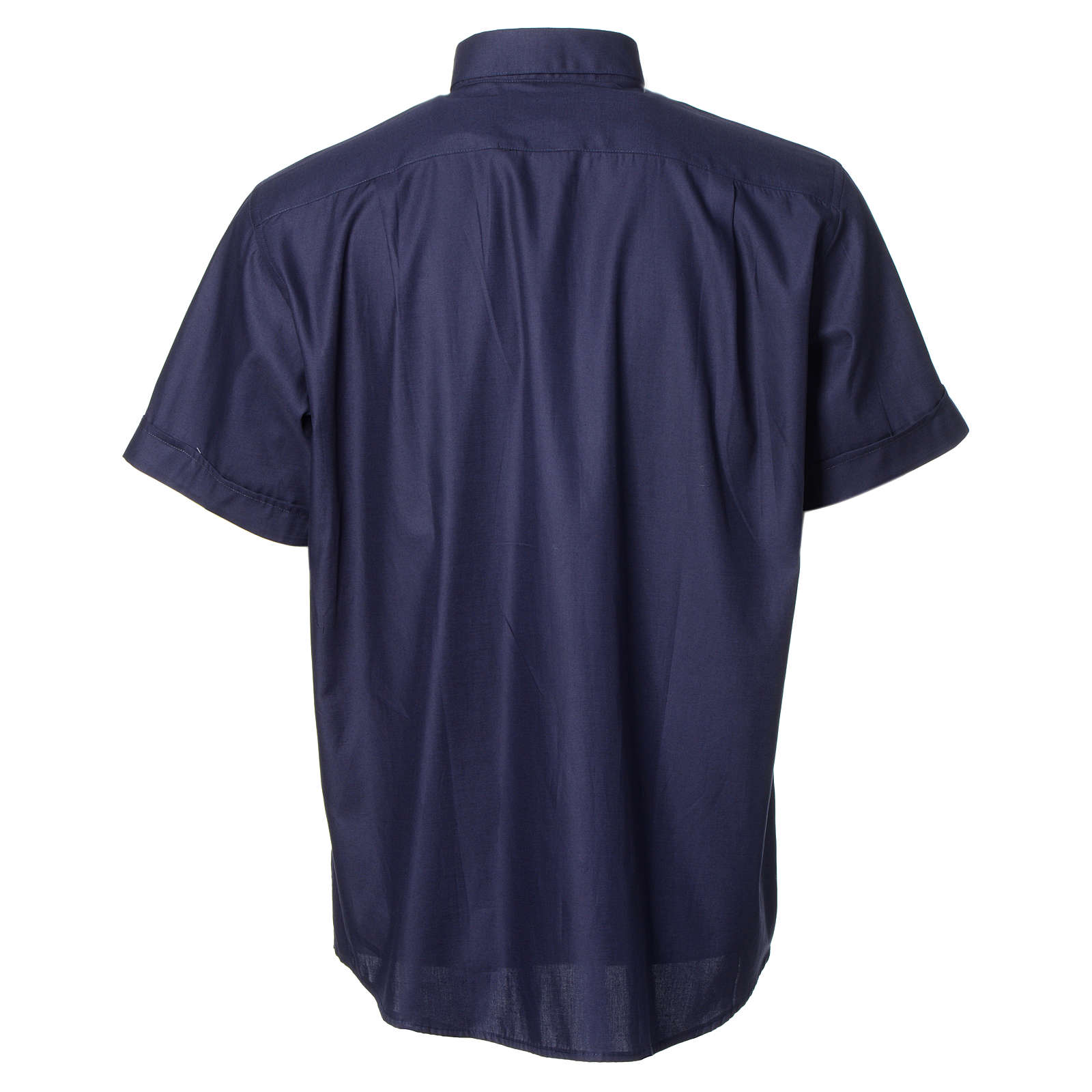 Blue short sleeves clergy shirt, cotton and polyester 4