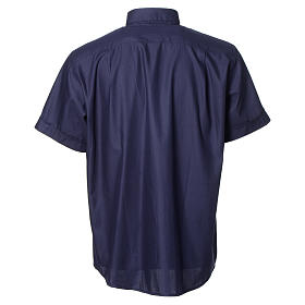 Blue short sleeves clergy shirt, cotton and polyester s2