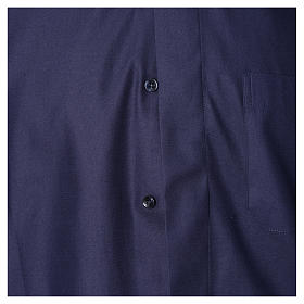 Blue short sleeves clergy shirt, cotton and polyester s3