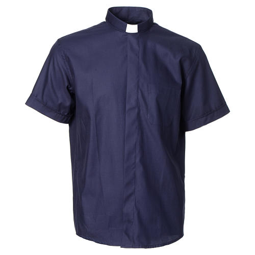 Blue short sleeves clergy shirt, cotton and polyester 1