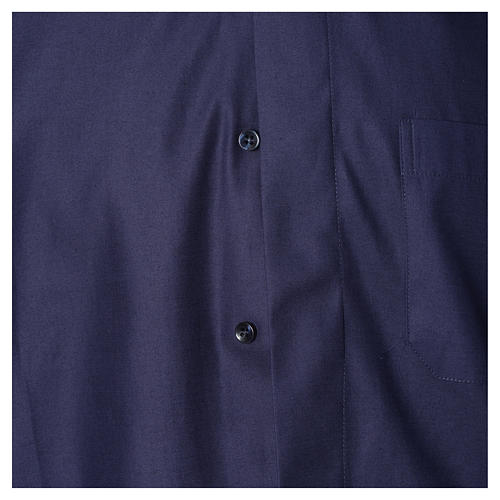 Blue short sleeves clergy shirt, cotton and polyester 3