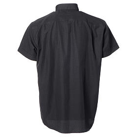 Clerical shirt with short sleeves in black cotton and polyester s6