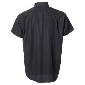 Clerical shirt with short sleeves in black cotton and polyester s2