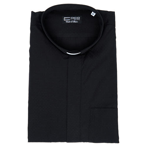 Clerical shirt with short sleeves in black cotton and polyester 4
