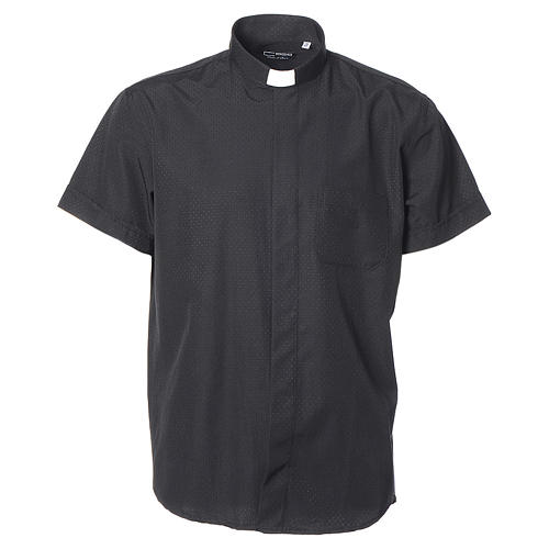 Clerical shirt with short sleeves in black cotton and polyester 1