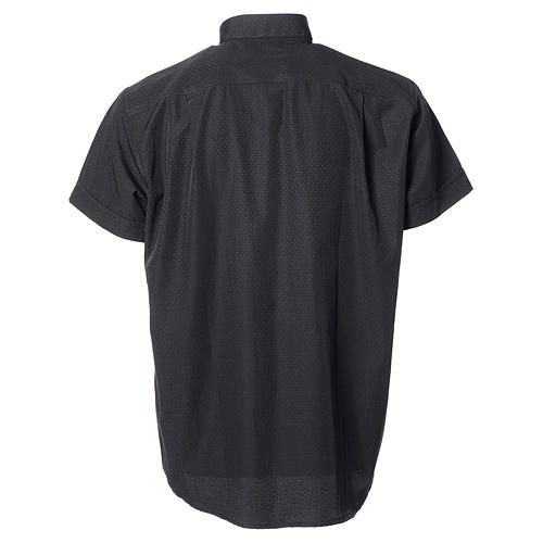 Clerical shirt with short sleeves in black cotton and polyester 2