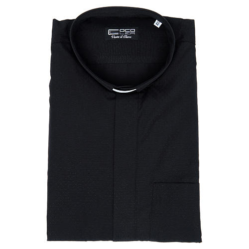 Clerical shirt with short sleeves in black cotton and polyester 3