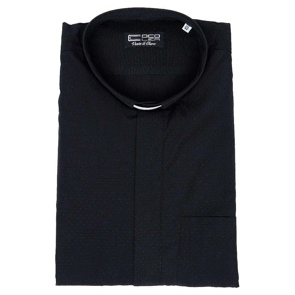 Camisa clery sacerdote algodón poliéster negro manga corta 4
