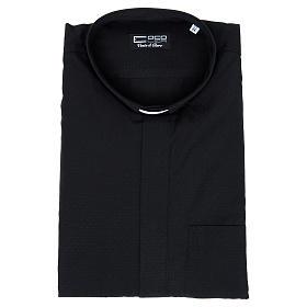 Camisa clery sacerdote algodón poliéster negro manga corta s4