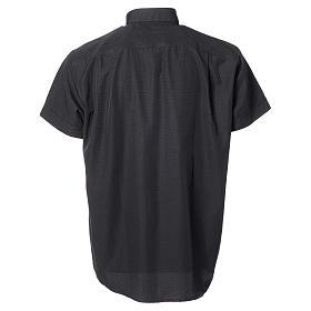 Camisa clery sacerdote algodón poliéster negro manga corta s6