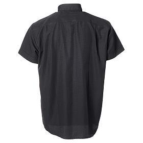 Camisa clery sacerdote algodón poliéster negro manga corta s2
