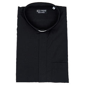 Camisa clery sacerdote algodón poliéster negro manga corta s3