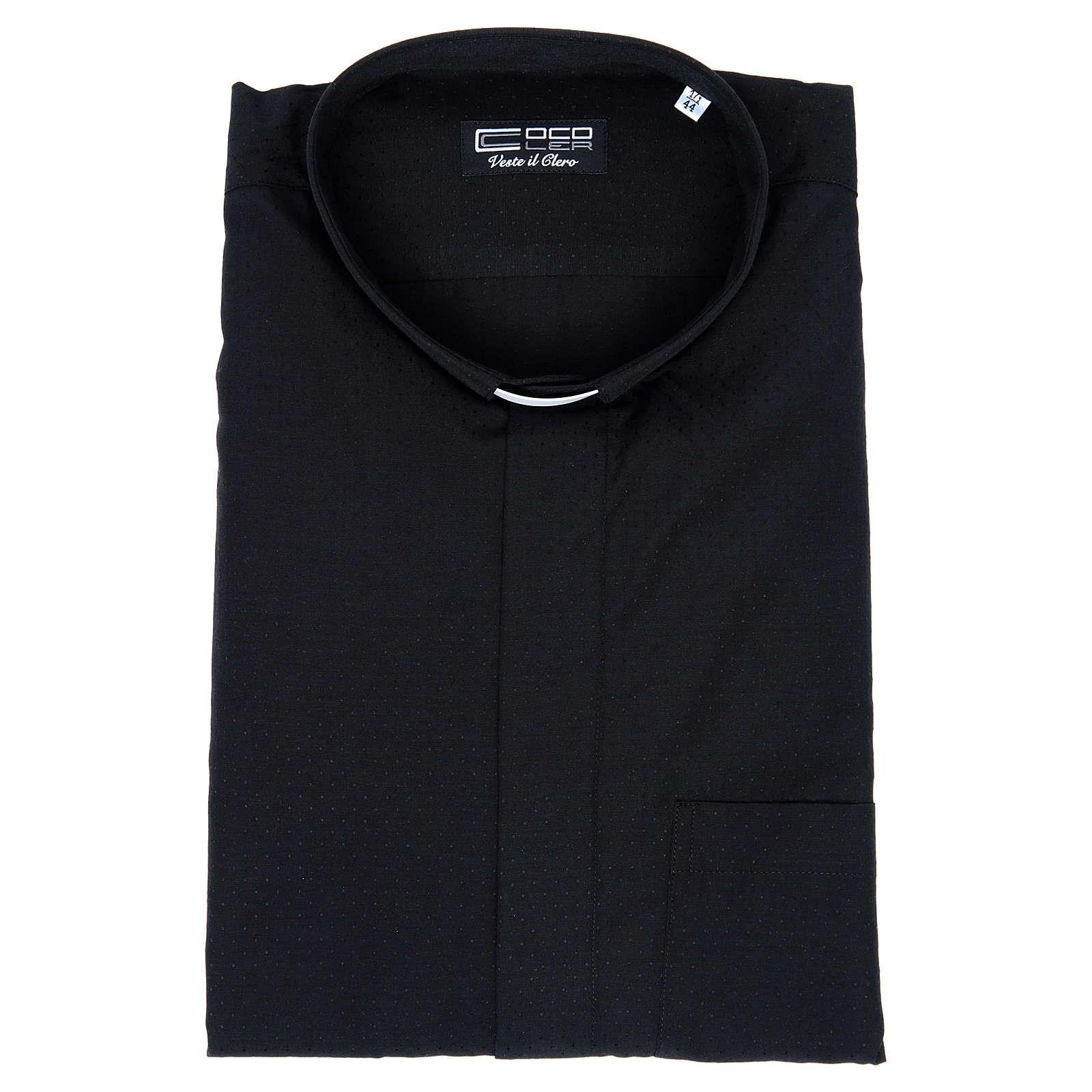 Chemise clergy coton polyester noir manches courtes 4