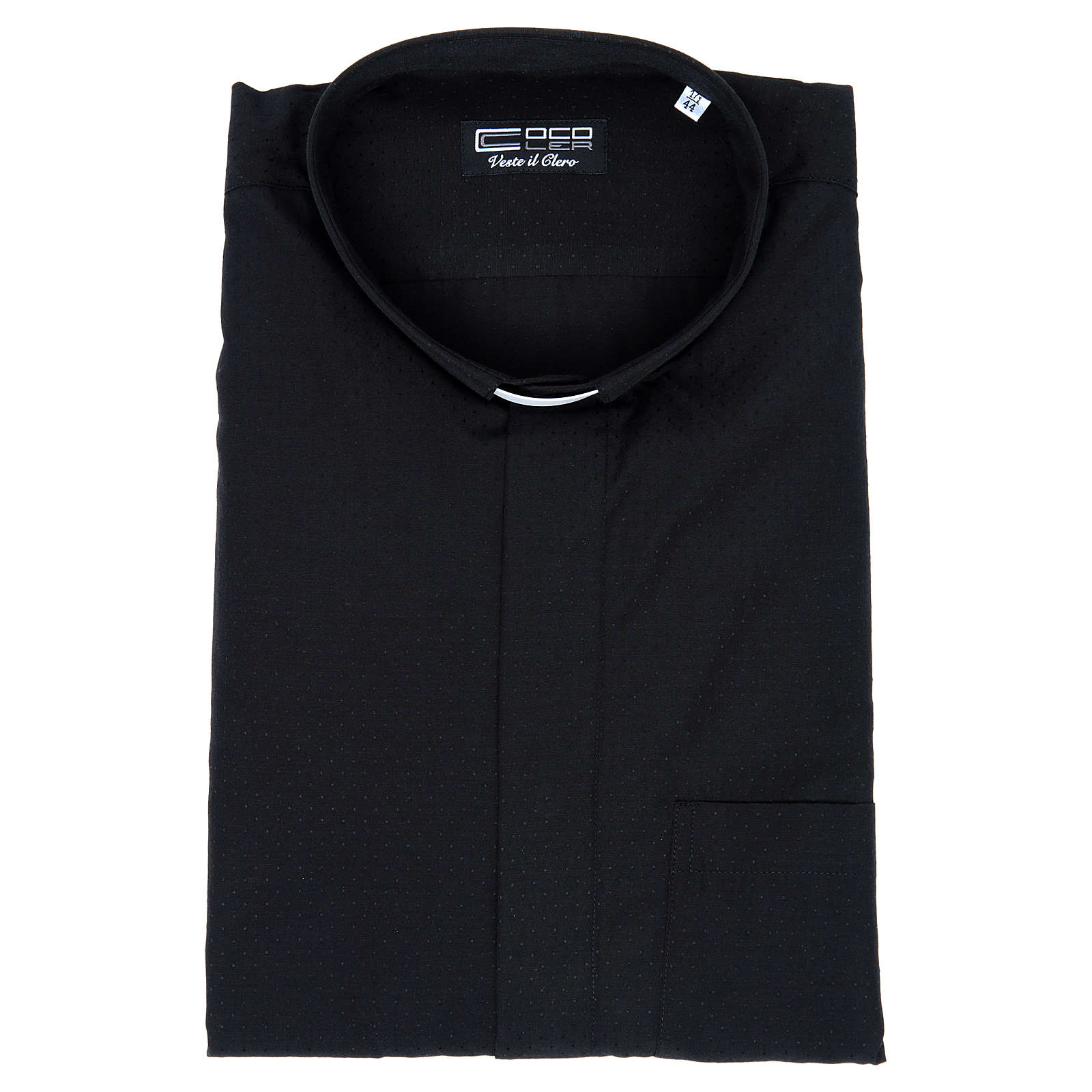 Camicia clergy cotone poliestere nero manica corta 4