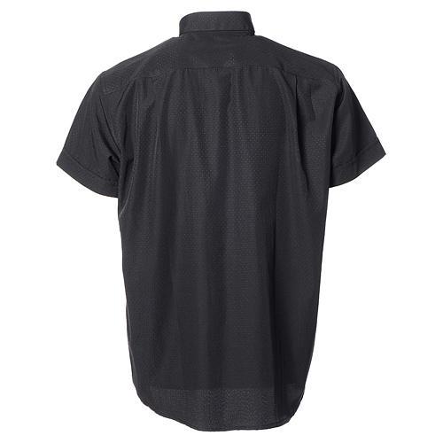 Camicia clergy cotone poliestere nero manica corta 2