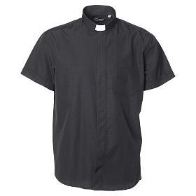 Koszula kapłańska bawełna poliester czarna krótki rękaw s1