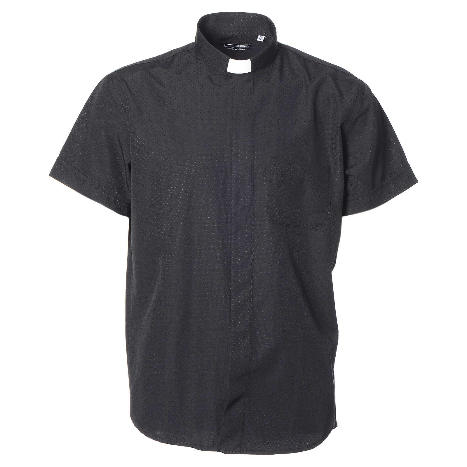 Camisa de sacerdote algodão poliéster preto M/C 4