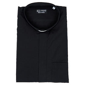 Camisa de sacerdote algodão poliéster preto M/C s4