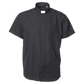 Camisa de sacerdote algodão poliéster preto M/C s5