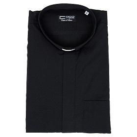Camisa de sacerdote algodão poliéster preto M/C s3
