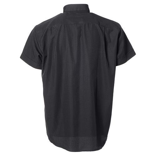 Camisa de sacerdote algodão poliéster preto M/C 6