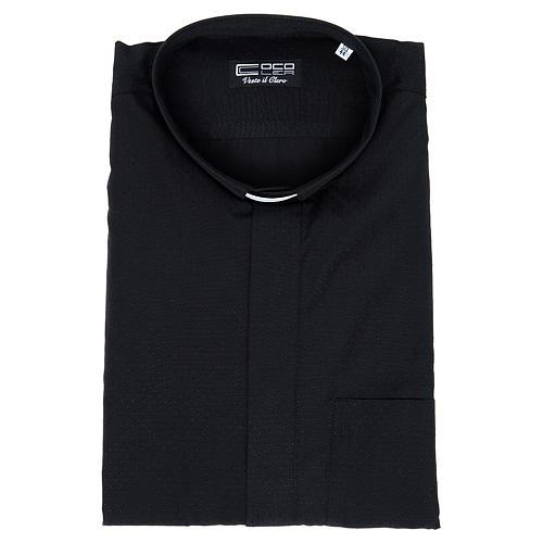 Camisa de sacerdote algodão poliéster preto M/C 3
