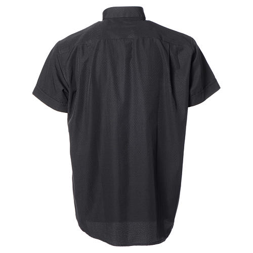 Black short sleeves clergy shirt, cotton and polyester 6