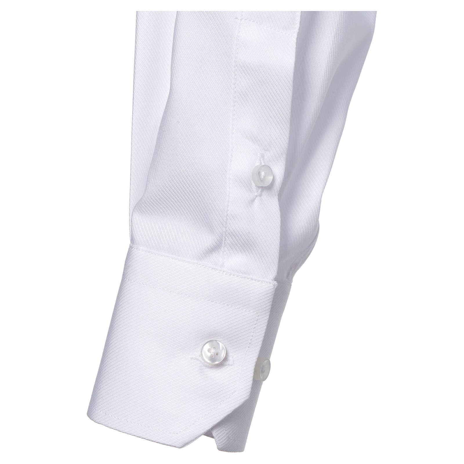Collarhemd mit Langarm bügelleicht feine diagonale Struktur des Baumwollmischgewebe in der Farbe Weiß 4