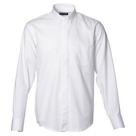 Collarhemd mit Langarm bügelleicht feine diagonale Struktur des Baumwollmischgewebe in der Farbe Weiß s1