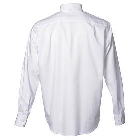Collarhemd mit Langarm bügelleicht feine diagonale Struktur des Baumwollmischgewebe in der Farbe Weiß s2