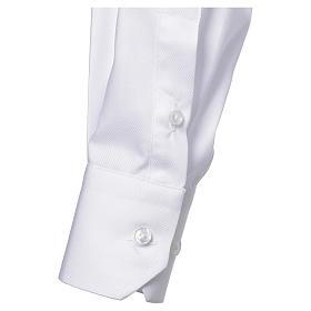 Collarhemd mit Langarm bügelleicht feine diagonale Struktur des Baumwollmischgewebe in der Farbe Weiß s3