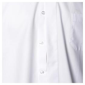 Collarhemd mit Langarm bügelleicht feine diagonale Struktur des Baumwollmischgewebe in der Farbe Weiß s4