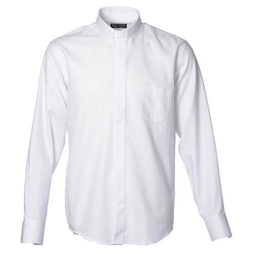 Collarhemd mit Langarm bügelleicht feine diagonale Struktur des Baumwollmischgewebe in der Farbe Weiß 1