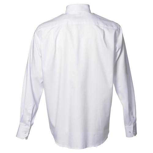Collarhemd mit Langarm bügelleicht feine diagonale Struktur des Baumwollmischgewebe in der Farbe Weiß 2