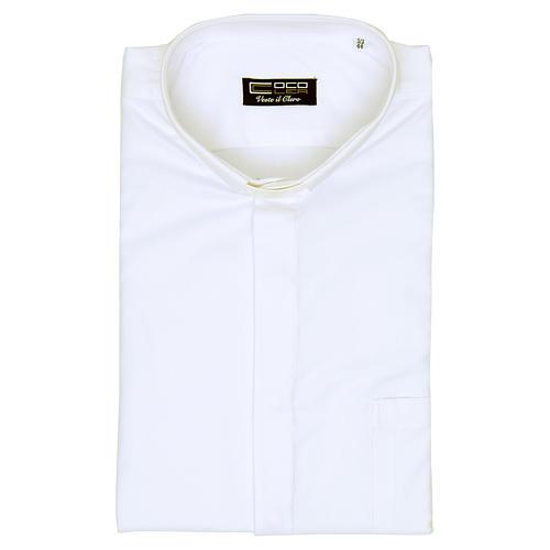 Collarhemd mit Langarm bügelleicht feine diagonale Struktur des Baumwollmischgewebe in der Farbe Weiß 5